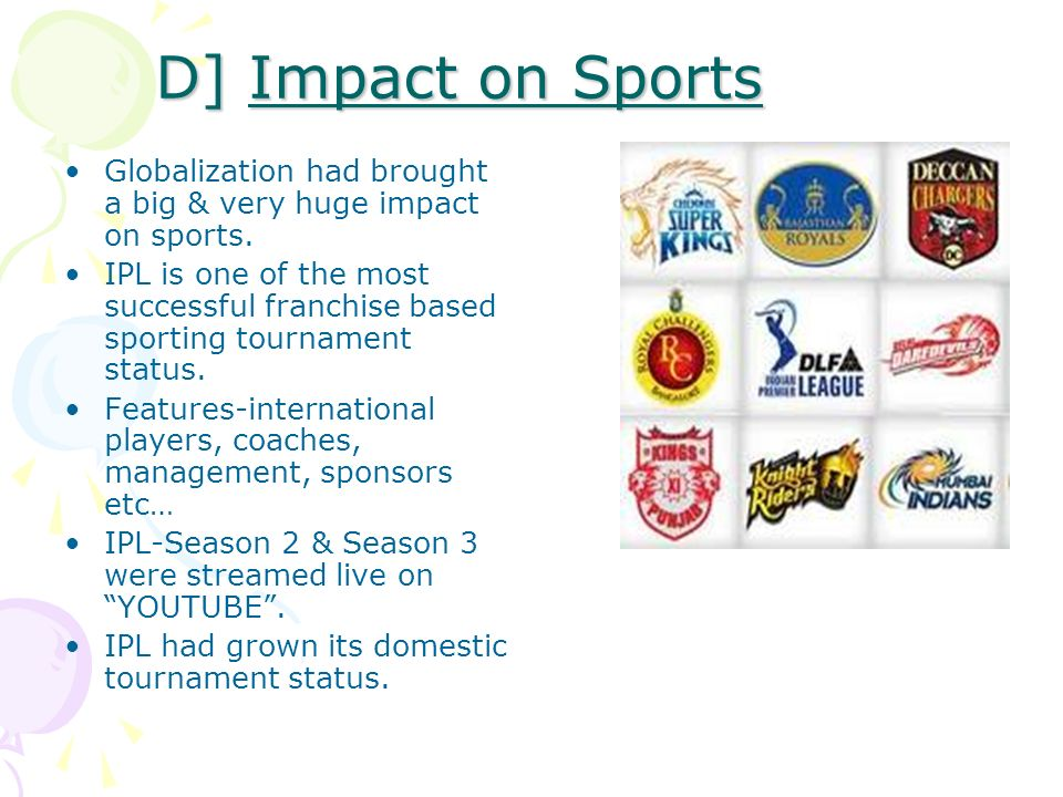 the globalisation of sport by international Integrating a global economy is nothing new, but the modern impact of globalization is bigger and stranger than ever before.